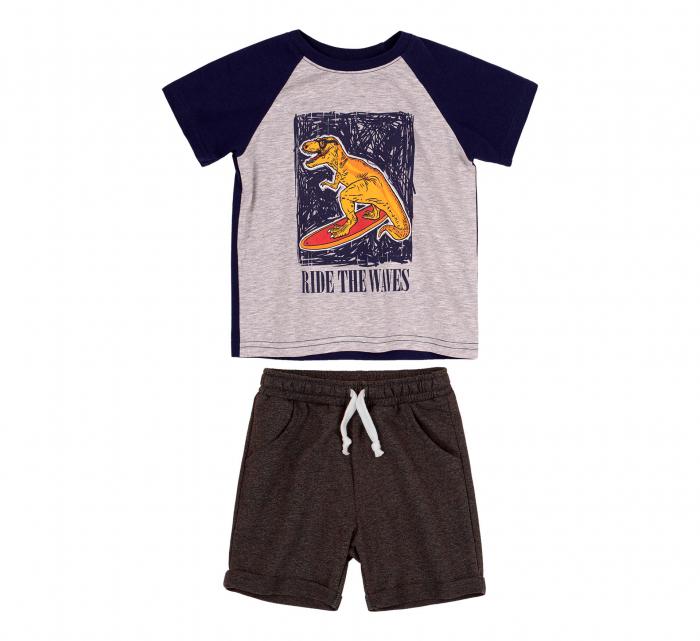Compleu, tricou cu maneca scurta si pantalon scurt cu buzunare, baieti, Albastru/Gri [1]