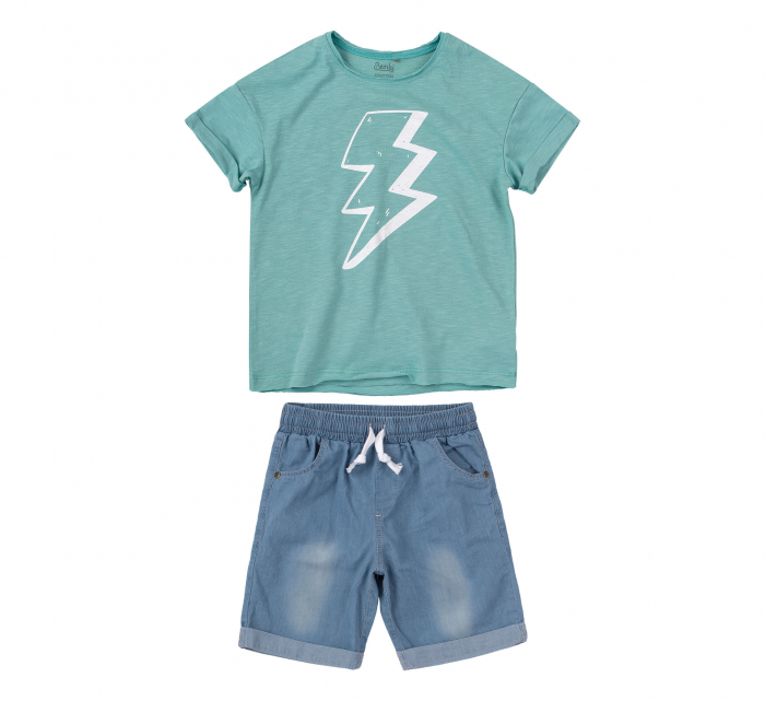 Compleu; tricou cu maneca scurta si pantalon scurt cu buzunare, baieti, Verde/Albastru [1]