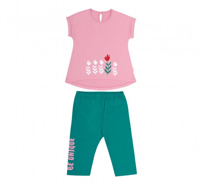 Compleu, tricou cu maneca scurta si pantalon leggings 3/4, bumbac 100%, fete, Roz/Verde [0]