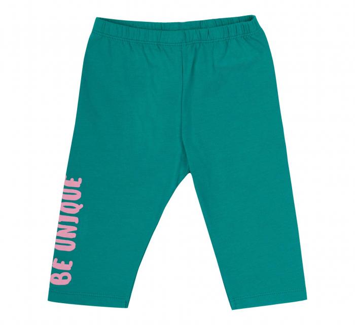 Compleu, tricou cu maneca scurta si pantalon leggings 3/4, bumbac 100%, fete, Roz/Verde [3]