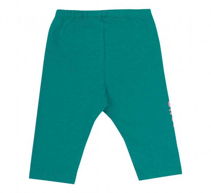 Compleu, tricou cu maneca scurta si pantalon leggings 3/4, bumbac 100%, fete, Roz/Verde [4]