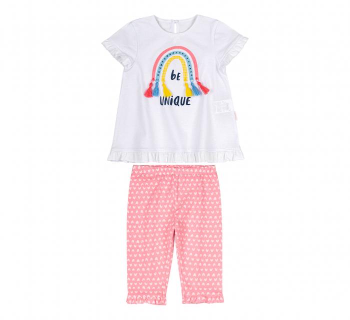 Compleu, tricou cu maneca scurta si pantalon leggings 3/4, bumbac 100%, fete, Alb/Roz cu inimioare [0]