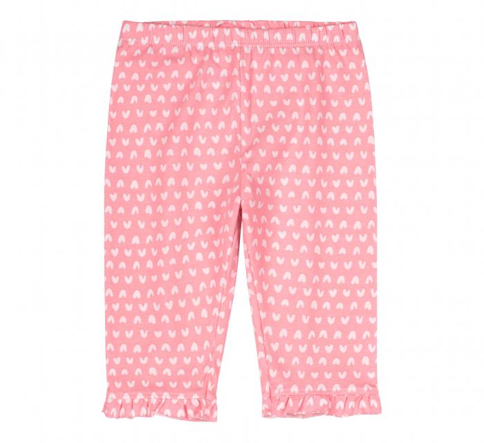 Compleu, tricou cu maneca scurta si pantalon leggings 3/4, bumbac 100%, fete, Alb/Roz cu inimioare [3]