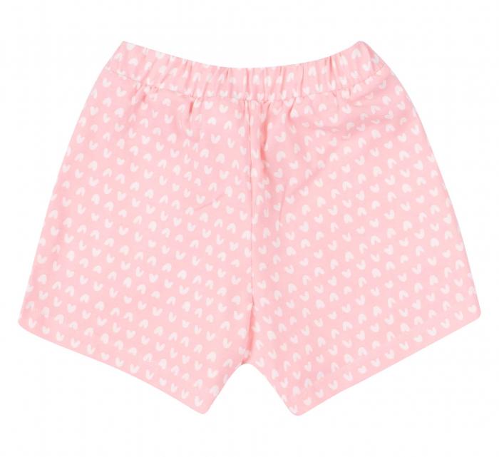Compleu, tricou cu maneca scurta si pantalon scurt cu buzunare, bumbac 100%, fete,Alb/Roz inimioare [4]