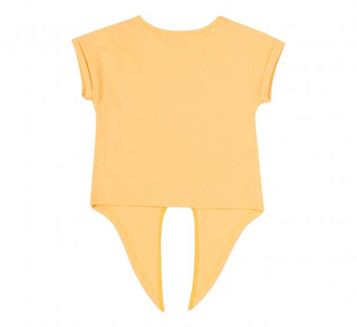 Compleu, tricou cu maneca scurta si pantalon scurt cu buzunare, bumbac 100%, fete,Galben/Bleumarin unicorni [3]