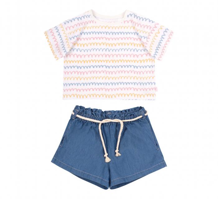 Compleu, tricou cu maneca scurta si pantalon scurt jeans cu buzunare, bumbac 100%, fete, Alb/Dungi colorate [0]