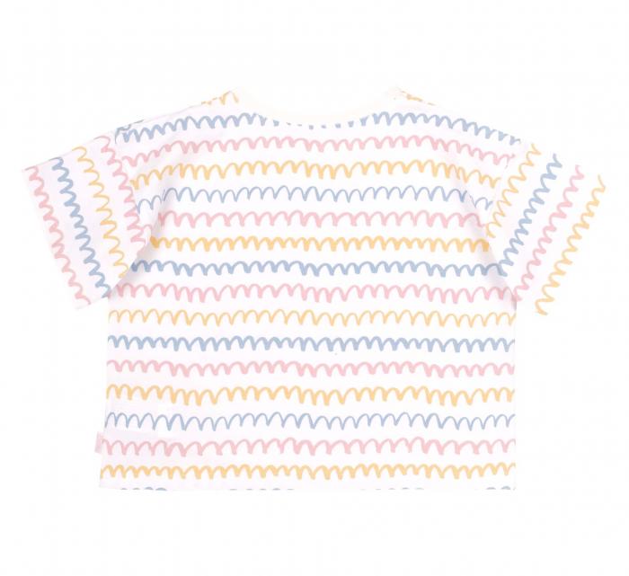 Compleu, tricou cu maneca scurta si pantalon scurt jeans cu buzunare, bumbac 100%, fete, Alb/Dungi colorate [3]