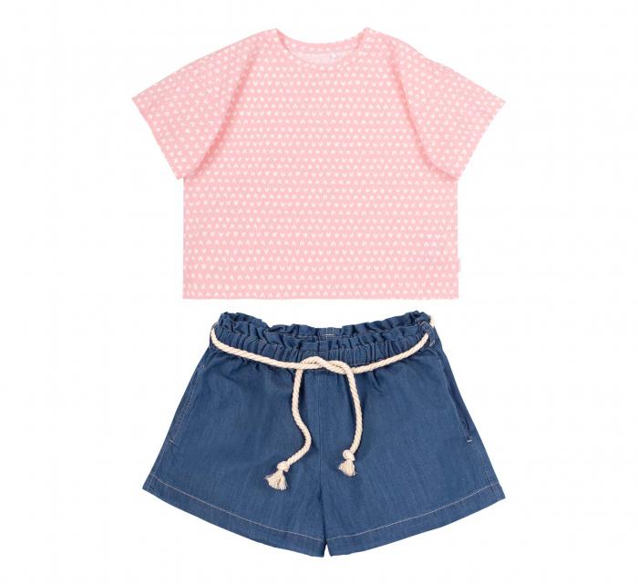 Compleu; tricou cu maneca scurta si pantalon scurt cu buzunare, jeans, fete, Roz/Inimioare [0]