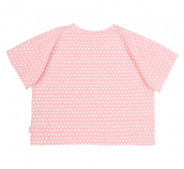 Compleu; tricou cu maneca scurta si pantalon scurt cu buzunare, jeans, fete, Roz/Inimioare [3]