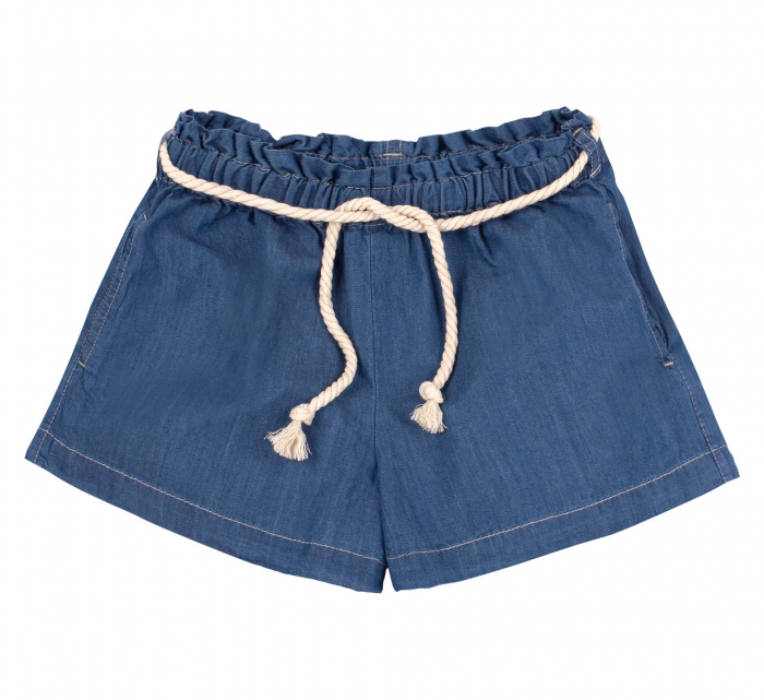 Compleu; tricou cu maneca scurta si pantalon scurt cu buzunare, jeans, fete, Roz/Inimioare [2]
