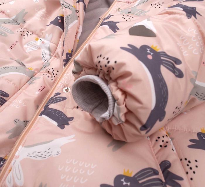 Jacheta fas iarna cu gluga, femoar si capse, fete, Roz/Iepurasi [3]