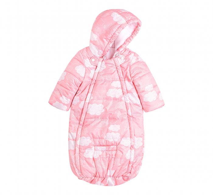 Husa tip salopeta din fas, iarna, bebe, fete, Roz/Alb [0]