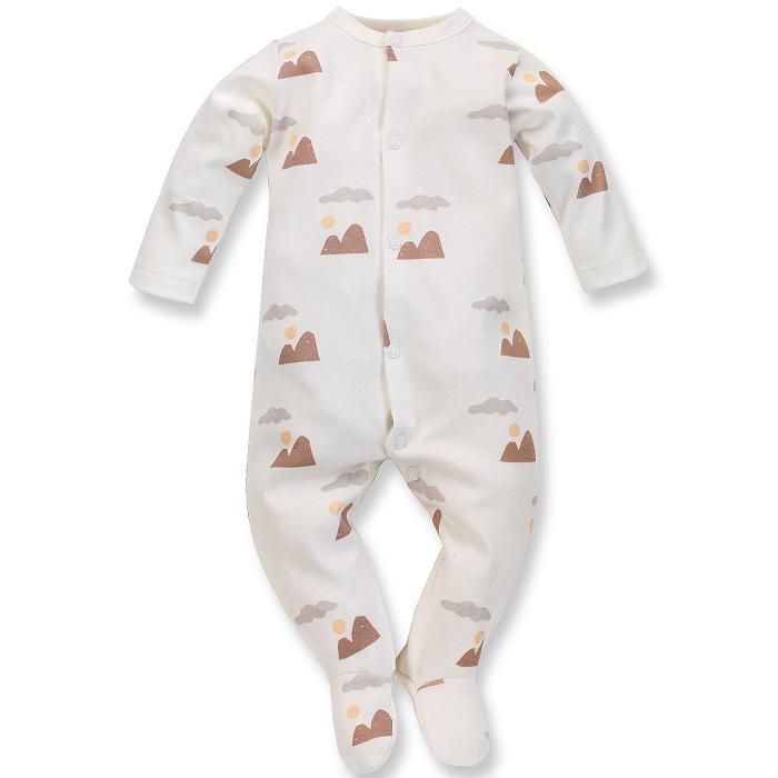 Pijama tip salopeta intreaga cu talpa, bumbac 100%, baieti, Ecru, Dreamer [0]