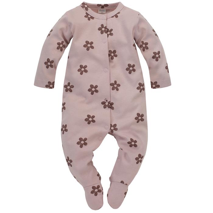 Pijama intreaga cu talpa, bumbac 100%, fete, Roz flori/Happines [0]