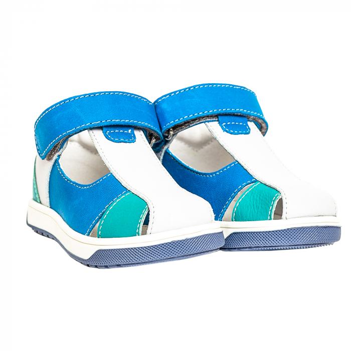 Sandale piele, albastru/gri, baieti, PABLO 1
