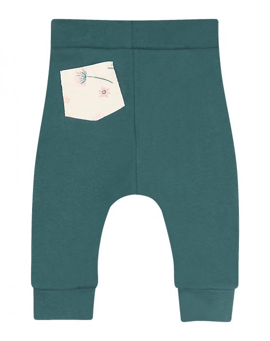 Pantalon lung, bumbac organic 100%, fete, Verde [1]