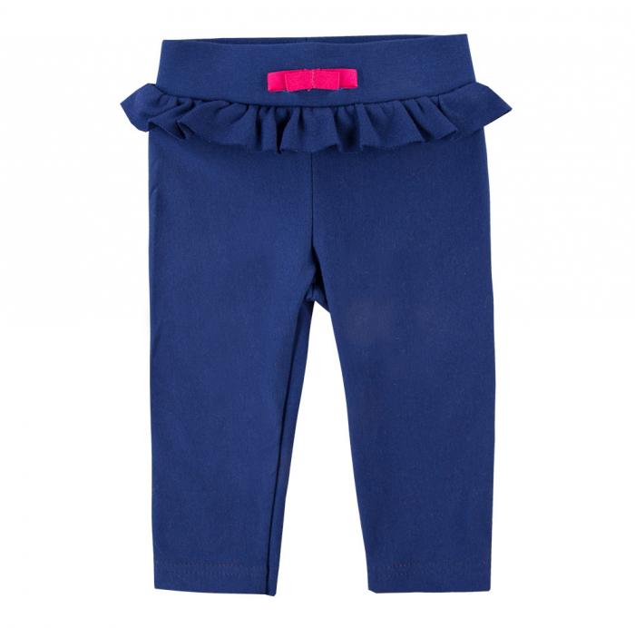Pantalon lung 'leggings', bumbac 100%, fete, Albastru, Coral 0