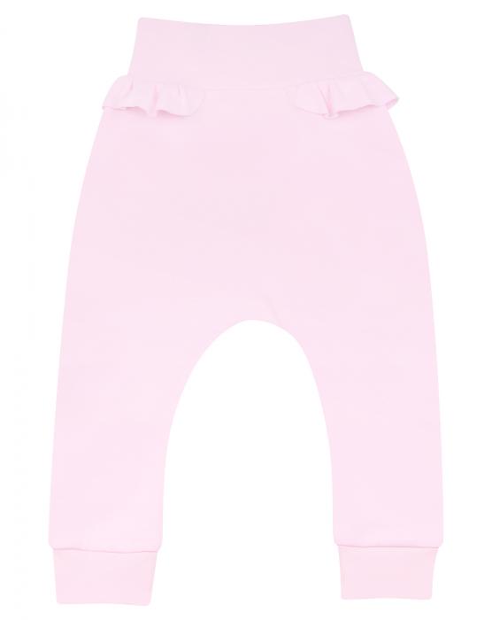 Pantalon lung subtire, bumbac organic 100%, fete, roz SEA 0