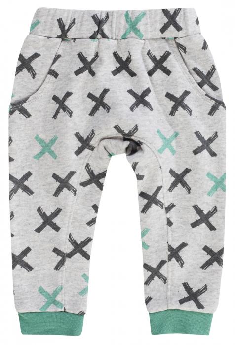 Pantalon lung, trening, bumbac 100%, baieti, Gri/Verde, Leopardy 0