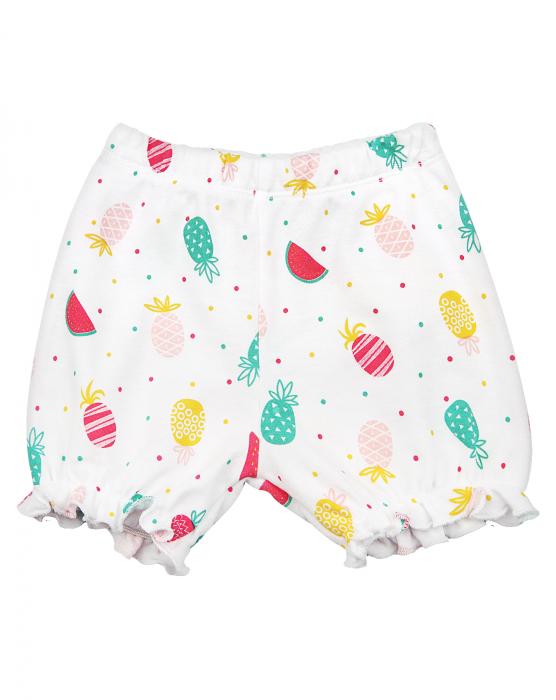 Pantalon scurt, bumbac organic 100%, fete, Alb/Fructe [0]