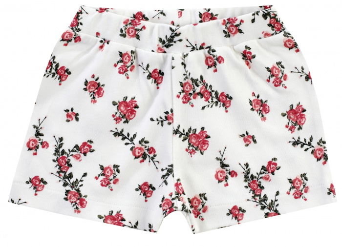 Pantalon scurt, vara, bumbac 100%, fete, Alb/Flori, Classic Girls [0]