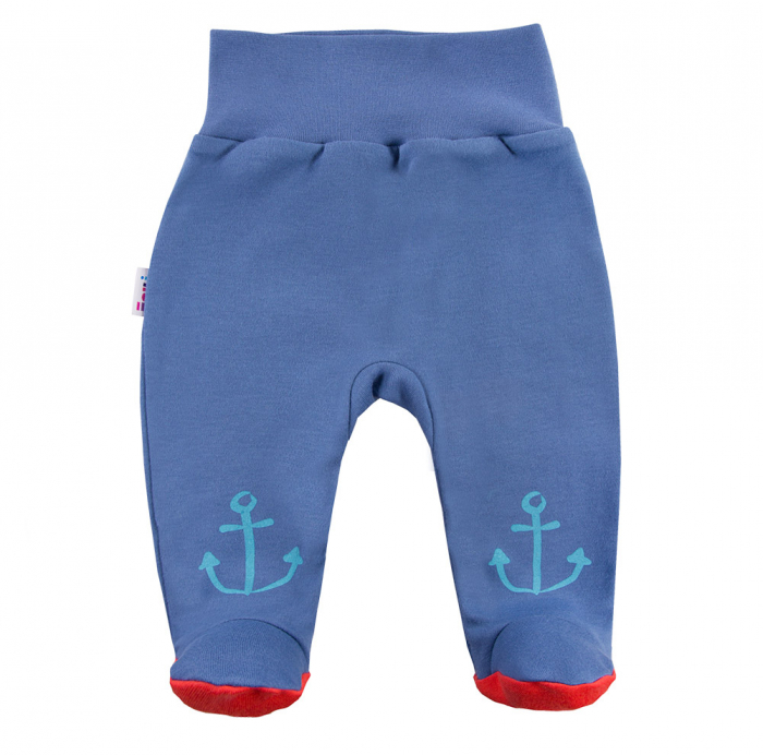Pantalon tip pijama cu talpa, bumbac 100%_baieti_albastru_Little Sailor 0