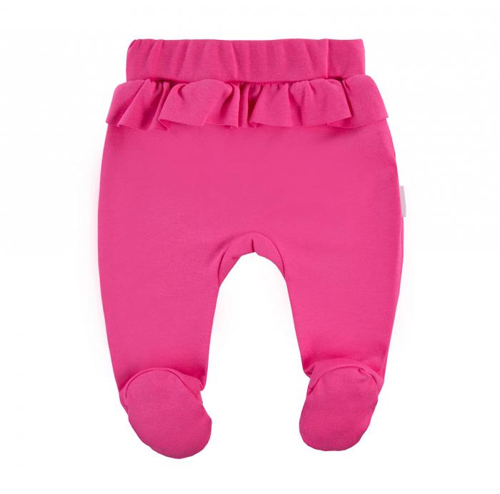 Pantalon tip pijama cu talpa, bumbac 100%, fete, Roz, Coral 1