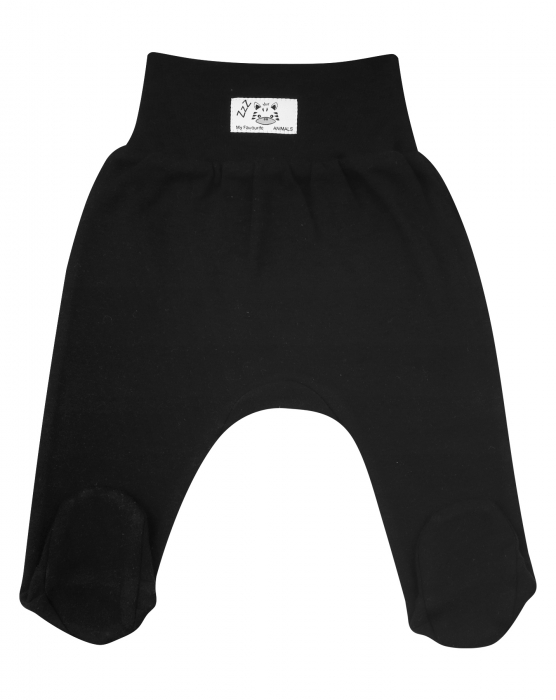 Pantalon tip pijama cu talpa, bumbac 100%, Negru Zebra 0