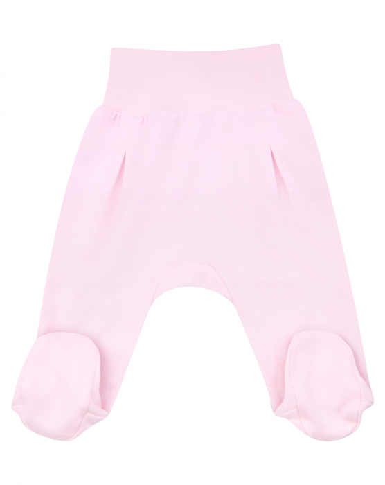Pantalon tip pijama cu talpa, bumbac organic 100%, roz, fete, SEA 0