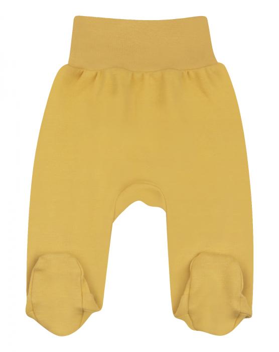 Pantalon tip pijama cu talpa, bumbac organic 100%, unisex, Galben mustar 0