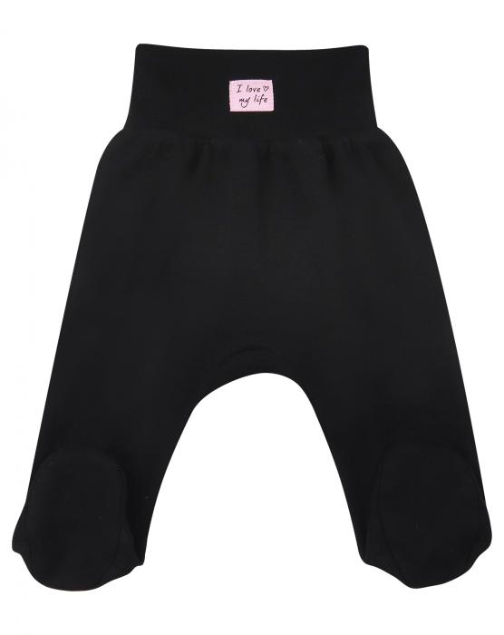 Pantalon tip pijama cu talpa, Negru 0