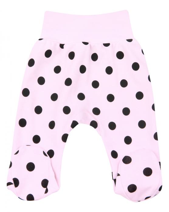 Pantalon tip pijama cu talpa_Roz cu buline negre 0