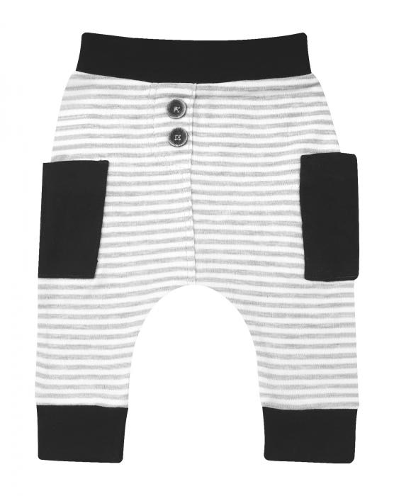 Pantalon trening, bumbac 100%, Gri/alb Zebra [0]