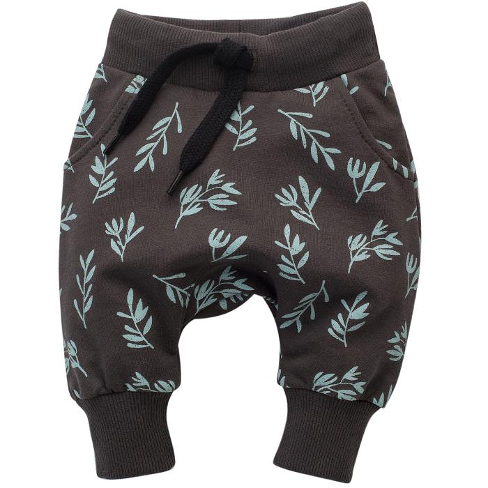 Pantalon trening cu buzunare, bumbac 100%, unisex, Gri/Frunze, Stay Green [0]