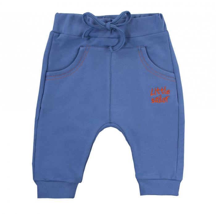 Pantalon trening cu buzunare fata_bumbac 100%_albastru_Little Sailor 0