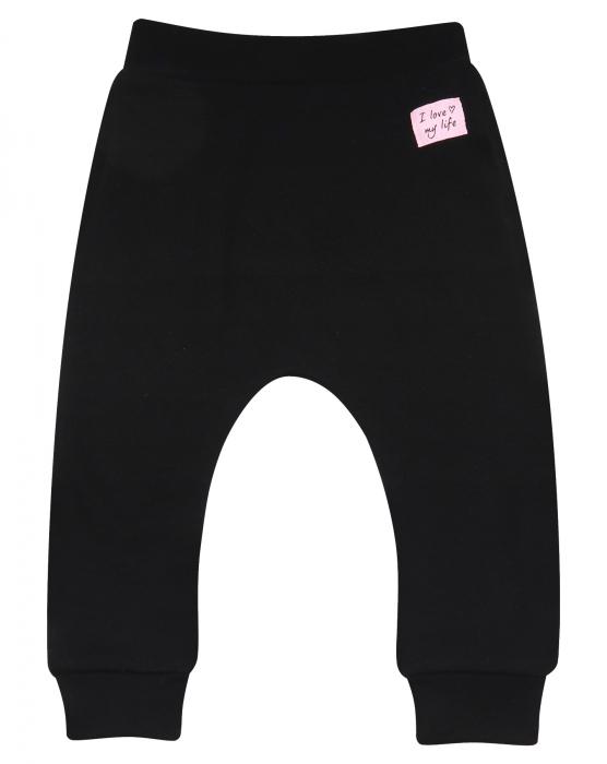 Pantalon trening_Negru cu volanase roz 1