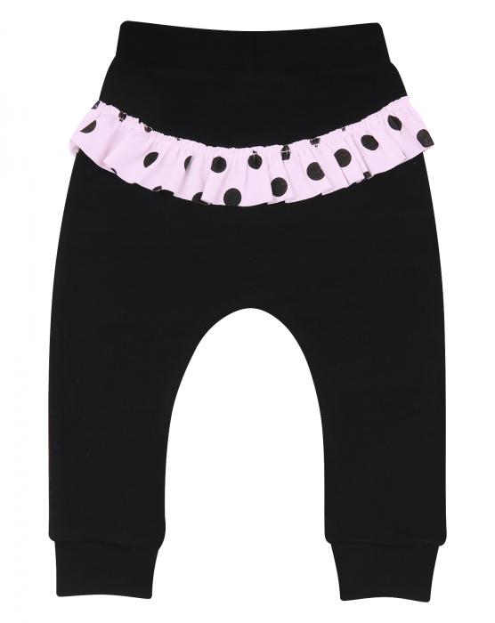 Pantalon trening_Negru cu volanase roz 0