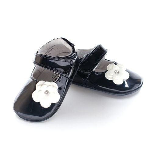 Pantofi eleganti, piele lacuita, fete, Negru/Floare alba, Skyler 0