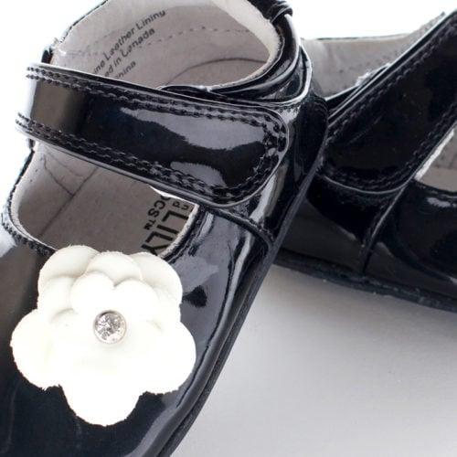 Pantofi eleganti, piele lacuita, fete, Negru/Floare alba, Skyler 1