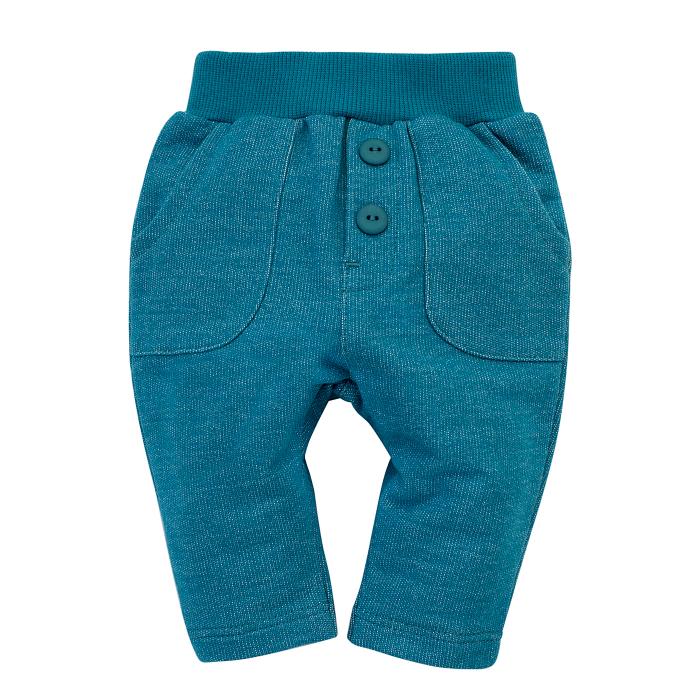 Pantalon trening cu buzunare, bumbac 100%, baieti, Turcoise, Little Car 0