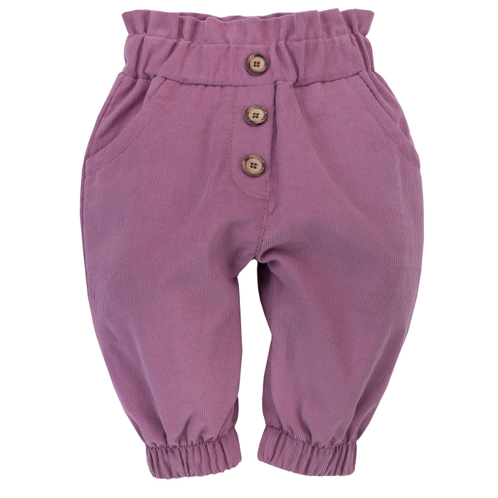 Pantalon lung cu buzunare, velour, fete, Mov,  My Garden [0]