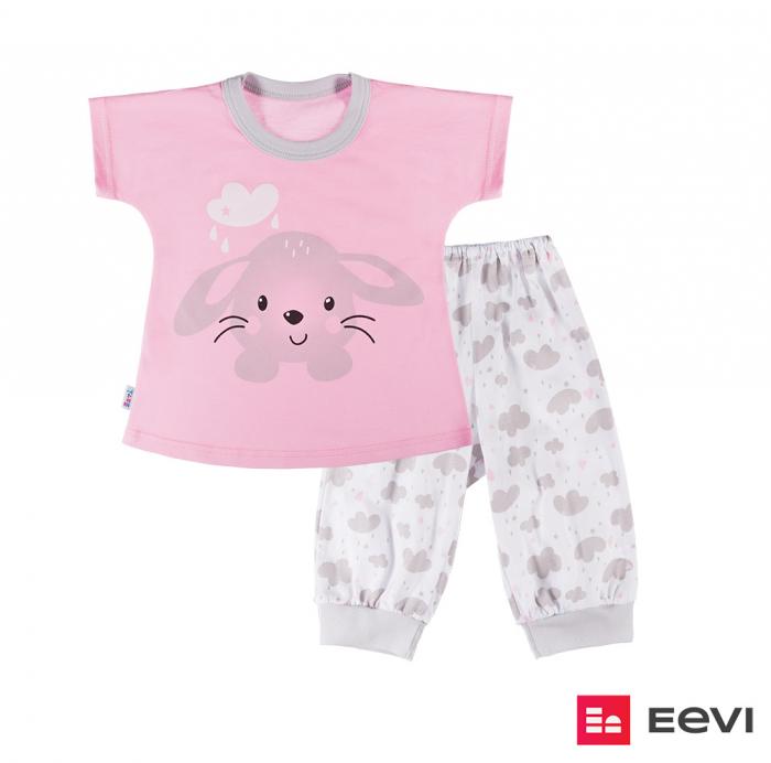 Pijama doua piese, maneca scurta, pantalon 3/4, bumbac 100%, fete, Roz [0]