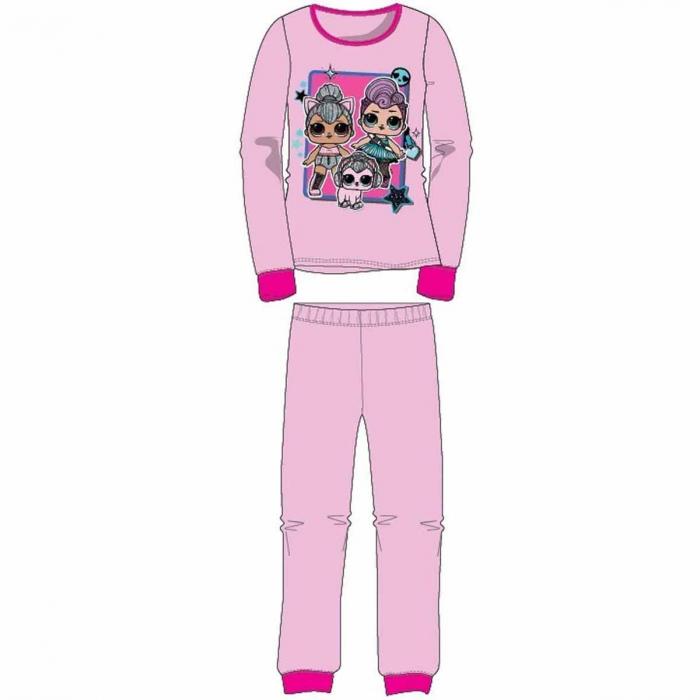Pijama cu maneca lunga, doua piese, bumbac 100%, fete, Roz, LOL 0