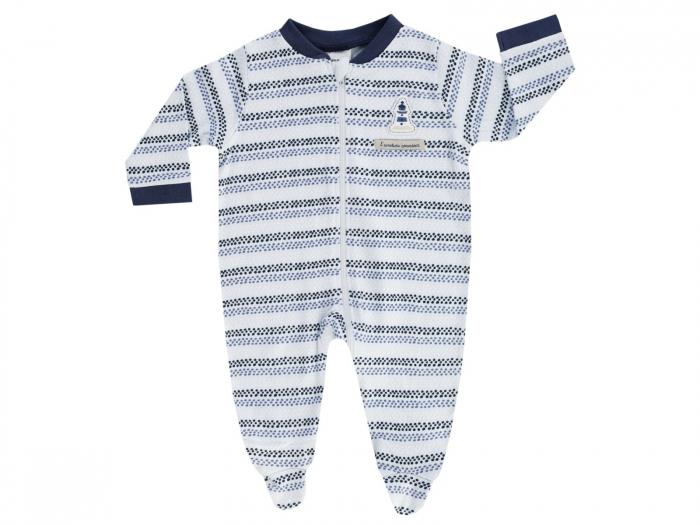 Pijama tip salopeta , intreaga cu talpa, bumbac 100%_Albastru deschis_Coucou Mon Petit 0