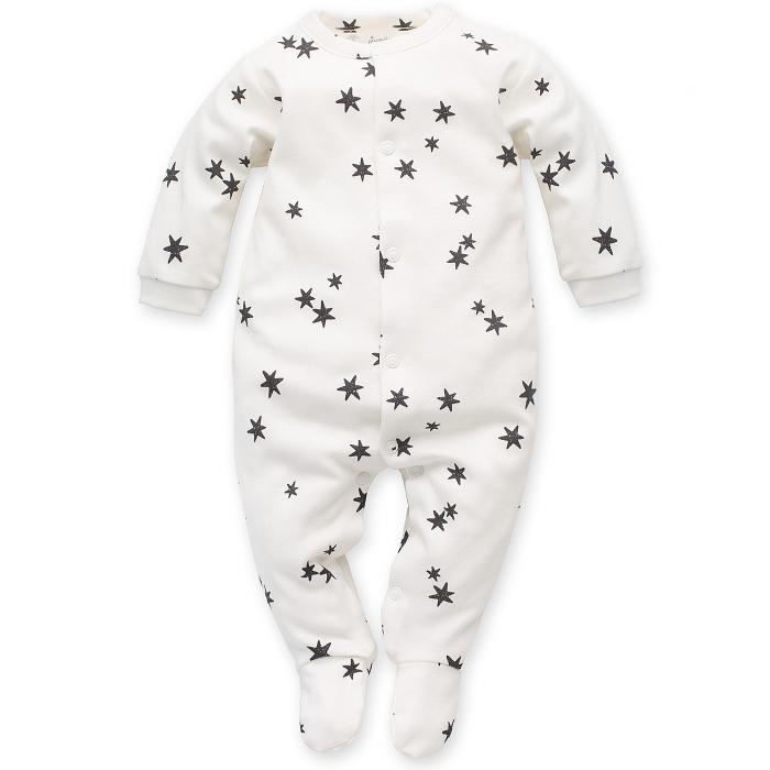 Pijama tip salopeta, intreaga cu talpa, bumbac 100%, fete, Alb/Stele 0