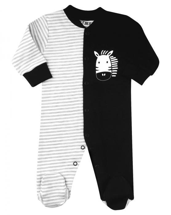 Pijama tip salopeta intreaga cu talpa, bumbac 100%_Negru/Gri_alb 0