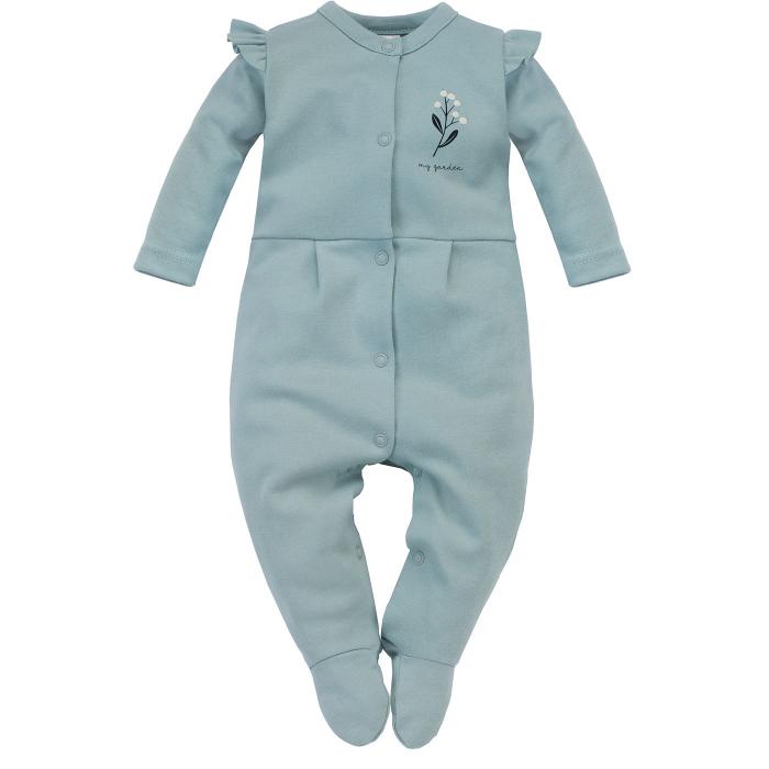 Pijama tip salopeta, intreaga cu talpa, bumbac 100%, Verde pal, My Garden 0