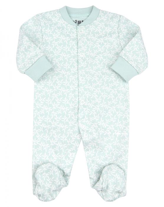 Pijama tip salopeta, intreaga cu talpa, bumbac organic 100%, fete, Verde/Alb 0