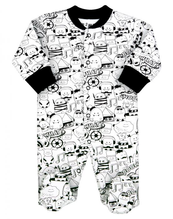 Pijama tip salopeta intreaga cu talpa, bumbac organic100%, baieti, Alb/Negru [0]