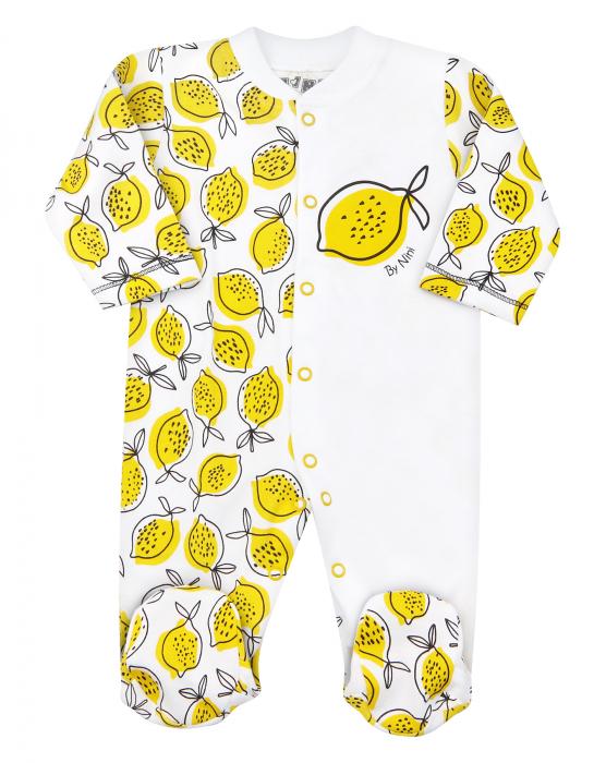 Pijama tip salopeta intreaga cu talpa, bumbac organic100%, fete, alb/galben, Lemon 0